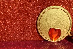 Valentine heart with gold circle Royalty Free Stock Photos