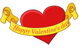 Valentine - heart with a greeting ribbon. A heart with a greeting ribbon on which Valentine`s Day greetings are written vector illustration