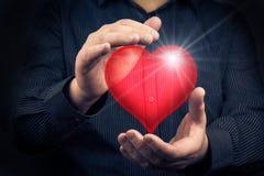 Valentine heart hands man Stock Photo