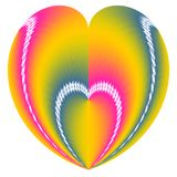 Valentine Heart in a Heart. Design in rainbow colors for Valentine Cards Royalty Free Stock Photography