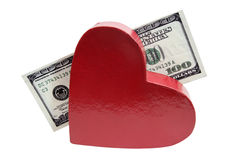 Valentine Heart with a Hundred Bucks Royalty Free Stock Photos