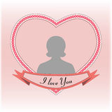 Valentine heart I love you frame. Valentine heart I love you, greeting card with frame for photo in the shape of a heart, tender banner with text I love you vector illustration