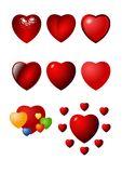 Valentine heart icon set Royalty Free Stock Images