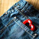 Valentine heart and jeans Royalty Free Stock Photography