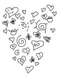 Valentine heart-like love doodle set. Valentine doodle set in form of heart with eyes and leaps available in vector format Stock Images