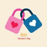 Valentine heart lock symbol design vector. Royalty Free Stock Photography