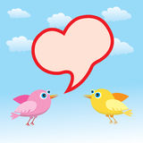 Valentine Heart and Love Birds Royalty Free Stock Image