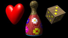 Valentine heart, Ludo piece and dice seamless loop video with alpha matte stock video