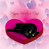 Valentine heart with lying black cat. With green eyes Royalty Free Stock Image
