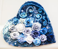 Valentine heart made of blue roses Stock Image