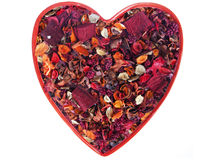 Valentine Heart Made of Dried Flower Potpourri Stock Photo