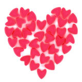 Valentine heart made of many small pink velvet heart Stock Photo