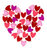 Valentine heart made of many small pink velvet hearts Stock Image