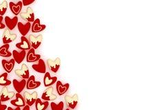 Valentine heart made of many small pink velvet hearts Stock Photos