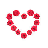 Valentine heart made of red roses. Royalty Free Stock Image