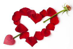 Valentine heart made from rose petals Stock Photo