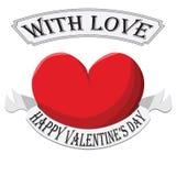 Valentine Heart met teken op witte achtergrond wordt geïsoleerd die Royalty-vrije Stock Foto