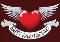 Valentine Heart met vleugels Stock Afbeeldingen
