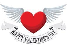Valentine Heart met vleugels op witte achtergrond wordt geïsoleerd die Royalty-vrije Stock Afbeelding