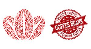 Valentine Heart Mosaic of Coffee Beans Icon and Rubber Watermark stock illustration