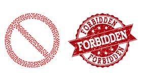 Valentine Heart Mosaic d'icône interdite et de filigrane en caoutchouc illustration de vecteur