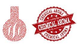 Valentine Heart Mosaic del icono químico del aroma y del sello de goma ilustración del vector
