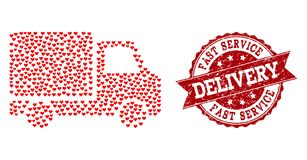 Valentine Heart Mosaic of Delivery Car Icon and Grunge Watermark stock illustration