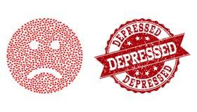 Valentine Heart Mosaic traurigen Smiley Icon- und Schmutz-Stempels stock abbildung