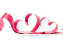Valentine Heart Nastro rosso elegante del regalo del raso Fotografia Stock