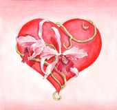 Valentine Heart with Orchids. The hand drawn watercolor of valentine heart with orchids Stock Photo