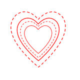 Valentine Heart Outlines. Illustrated heart shapes in alternate red solid and dashed lines, indicative of needlecraft and road markings.  White background Stock Photos