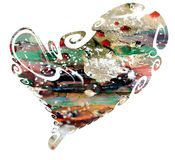 Valentine heart, paint and mud Stock Photos