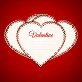 Valentine heart paper greetings card over red Stock Image