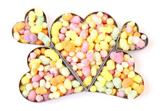Valentine heart pattern. Candy filled hearts in a pattern Royalty Free Stock Photo