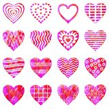 Valentine heart with patterns, set Stock Images
