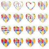 Valentine heart with patterns, set Royalty Free Stock Photos