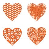 Valentine heart with patterns, set Royalty Free Stock Photography