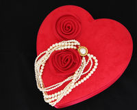 Valentine Heart with Pearl Necklace Royalty Free Stock Image