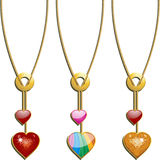 Valentine heart pendants. Sparkling red and gold and glossy valentine heart pendants Stock Photos