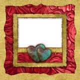 Valentine Heart Photo Card de cuero rojo imagen de archivo