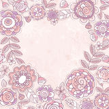 Valentine heart of pink flowers Stock Images