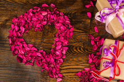 Valentine heart and presents Royalty Free Stock Image