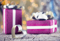 Valentine heart with presents Stock Photo