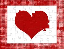 Valentine Heart Puzzle. Computer generated image. Red heart made up of puzzle pieces. Grungy border. Romance or Valentine background Stock Photography