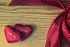 Valentine heart with red dotted ribbon Stock Photography
