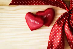 valentine heart with red dotted ribbon Stock Photo