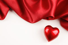 Valentine heart with red silk Royalty Free Stock Image