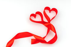 Valentine Heart. Red Silk Ribbon. Love Symbol . Valentine Heart. Red Silk Ribbon. Love Symbol royalty free stock photos