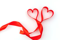 Valentine Heart. Red Silk Ribbon. Love Symbol . Valentine Heart. Red Silk Ribbon. Love Symbol stock photography