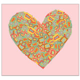 Valentine Heart Retro Colors Imagenes de archivo